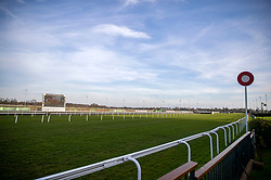 General view of the finishing line at Kempton Park Racecourse, Esher.