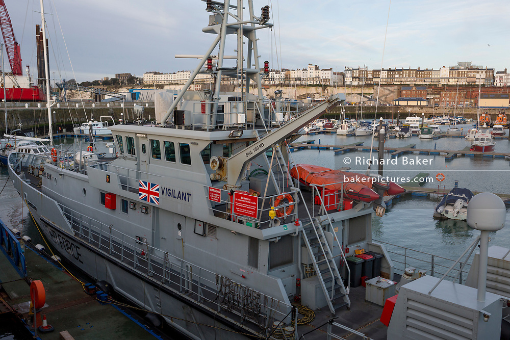 Docked after night-time interceptions of migrant inflatables from the French coast via the English Channel is the UK Border Force's cutter HMC Vigilant in Ramsgate Harbour, on 8th January 2019, in Ramsgate, Kent, England. The Port of Ramsgate has been identified as a 'Brexit Port' by the government of Prime Minister Theresa May, currently negotiating the UK's exit from the EU. Britain's Department of Transport has awarded to an unproven shipping company, Seaborne Freight, to provide run roll-on roll-off ferry services to the road haulage industry between Ostend and the Kent port - in the event of more likely No Deal Brexit. In the EU referendum of 2016, people in Kent voted strongly in favour of leaving the European Union with 59% voting to leave and 41% to remain.
