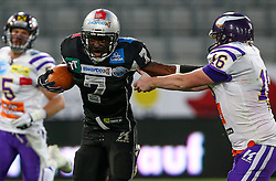 06.07.2013, Tivoli Stadion, Innsbruck, AUT, EFL Finale, Eurobowl XXVII, Swarco Raiders Tirol (AUT) vs Raiffeisen Vikings Vienna (AUT), im Bild Jaycen Taylor Spears, (SWARCO Raiders Tirol, RB, #7) und  Christopher Kappel, (Raiffeisen Vikings Vienna, K, #16)  // during the Eurobowl XXVII between Swarco Raiders Tirol (AUT) and Raiffeisen Vikings Vienna (AUT) at the Tivoli Stadion, Innsbruck, Austria on 2013/07/06. EXPA Pictures © 2013, PhotoCredit: EXPA/ Thomas Haumer