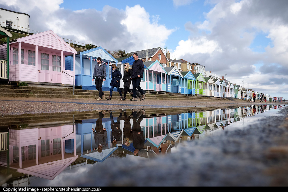 © Licensed to London News Pictures. 23/10/2016. Southwold, UK People stroll along the promenade in Southwold, Suffolk, after rain showers today 23rd October 2016. Photo credit : Stephen Simpson/LNP