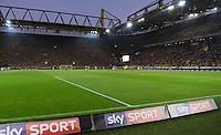 FUSSBALL 1. BUNDESLIGA   SAISON 2016/2017   SUPERCUP FINALE Borussia Dortmund - FC Bayern Muenchen     14.08.2016 Sky Sport wirbt uf einer Werbebande m Signal Iduna Park