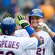 NEW YORK, NEW YORK - MAY 04:  Lucas Duda #21 of the New York Mets celebrates his first home run at home plate with Yoenis Cespedes #52 of the New York Mets during the Atlanta Braves Vs New York Mets MLB regular season game at Citi Field on May 04, 2016 in New York City. (Photo by Tim Clayton/Corbis via Getty Images)