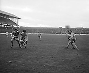 Offaly and Donegal players challenge each other for possession of the ball during the All Ireland Senior Gaelic Football Final, Donegal v Offaly in Croke Park on 24 September 1972.