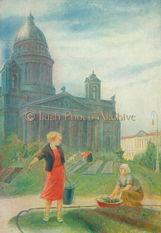 Postcard from Russia showing civilians washing and carrying water in St petersburg (leningrad) circa 1942