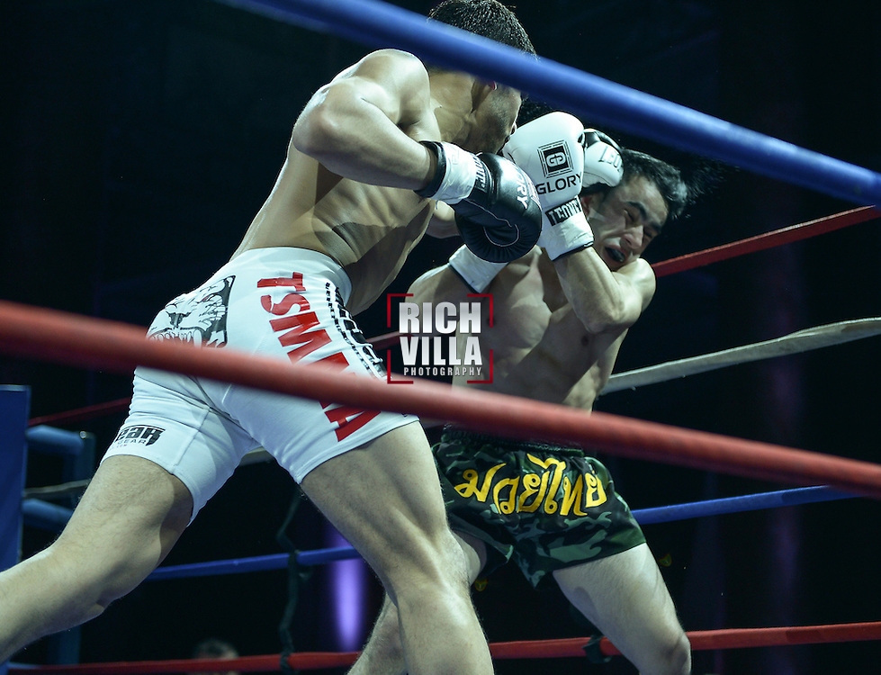 Friday, April 4, 2014, New York, NY: Zarukh Adashov(black/yellow trunks) Vs Julio Arce(White shorts) at The Capitale Ballroom in Combat at The Capitale 32.