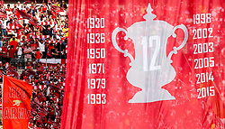 Flag listing Arsenal FA Cup wins - Rogan Thomson/JMP - 27/05/2017 - FOOTBALL - Wembley Stadium - London, England - Arsenal v Chelsea - FA Cup Final.