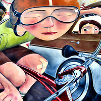 Bicyclist with a Band-Aid Mural on Absolute Bikes by Lyle Motley in Flagstaff, Arizona<br /> This mural of a bicyclist with a Band-Aid on his knee and a boy starring from a passing car was voted Best Public Art in the Editor&rsquo;s Choice Awards by Flagstaff Live in Flagstaff, Arizona.  This is a detail of a larger mural on the Absolute Bikes&rsquo; building.  If you&rsquo;re interested, it is fun to watch the time-lapse, on-line video of how Lyle Motely created it in 2007.