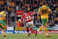 Photo: Ashley Pickering.<br /> Norwich City v Bristol City. Coca Cola Championship. 20/10/2007.<br /> Lee Trundle (no. 23) slots home Bristol's third of the afternoon