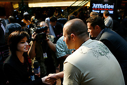 """June 3, 2009; New York, NY, USA; Fedor Emelianenko speaks to the press at the press conference announcing his fight against Josh Barnett at Affliction M-1 Global's """"Trilogy"""".  The two will meet on August 1, 2009 at the Honda Center in Anaheim, CA."""