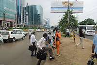 People arriving for work in New Delhi's new CBD Gurgaon, an hour South of the city.