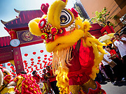 16 FEBRUARY 2018 - BANGKOK, THAILAND: Lion dancers perform on Yaowarat Road during Chinese New Year celebrations in the Chinatown neighborhood of Bangkok. Thailand has a large Chinese community and Lunar New Year is widely celebrated, especially in larger cities. This will be the Year of the Dog.       PHOTO BY JACK KURTZ