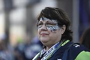 Feb 1, 2015; Glendale, AZ, USA; Seattle Seahawks fan Wendy Johnson before Super Bowl XLIX against the New England Patriots at University of Phoenix Stadium. The Patriots defeated the Seahawks 28-24.