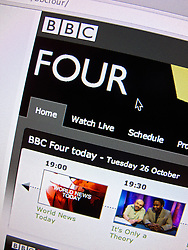 Detail of BBC Four television channel website homepage screen shot