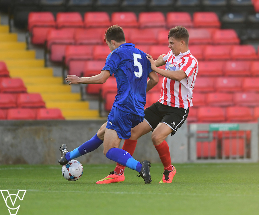 Lincoln City&rsquo;s Jack McMenemy vies for possession with Leicester City&rsquo;s Kyle Gruno<br /> <br /> Lincoln City under 18s Vs Leicester City under 18s at Sincil Bank, Lincoln.<br /> <br /> Picture: Chris Vaughan/Chris Vaughan Photography<br /> <br /> Date: July 28, 2016