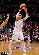 Aug 26, 2010; Phoenix, AZ, USA; Phoenix Mercury guard Diana Taurasi (3) makes a pass during the first half against the San Antonio Silver Stars in game one of the western conference semi-finals in the 2010 WNBA Playoffs at US Airways Center.  The Mercury defeated the Silver Stars 106-93.  Mandatory Credit: Jennifer Stewart-US PRESSWIRE
