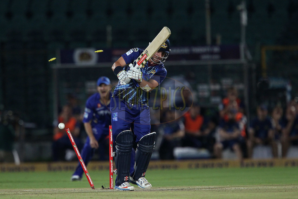 Hamish Rutherford of Otago Volts is bowled by Rahul Shukla of Rajasthan Royals  during match 18 of the Karbonn Smart Champions League T20 (CLT20) 2013  between The Rajasthan Royals and the Otago Volts held at the Sawai Mansingh Stadium in Jaipur on the 1st October 2013<br /> <br /> Photo by Ron Gaunt-CLT20-SPORTZPICS <br /> <br /> Use of this image is subject to the terms and conditions as outlined by the CLT20. These terms can be found by following this link:<br /> <br /> http://sportzpics.photoshelter.com/image/I0000NmDchxxGVv4
