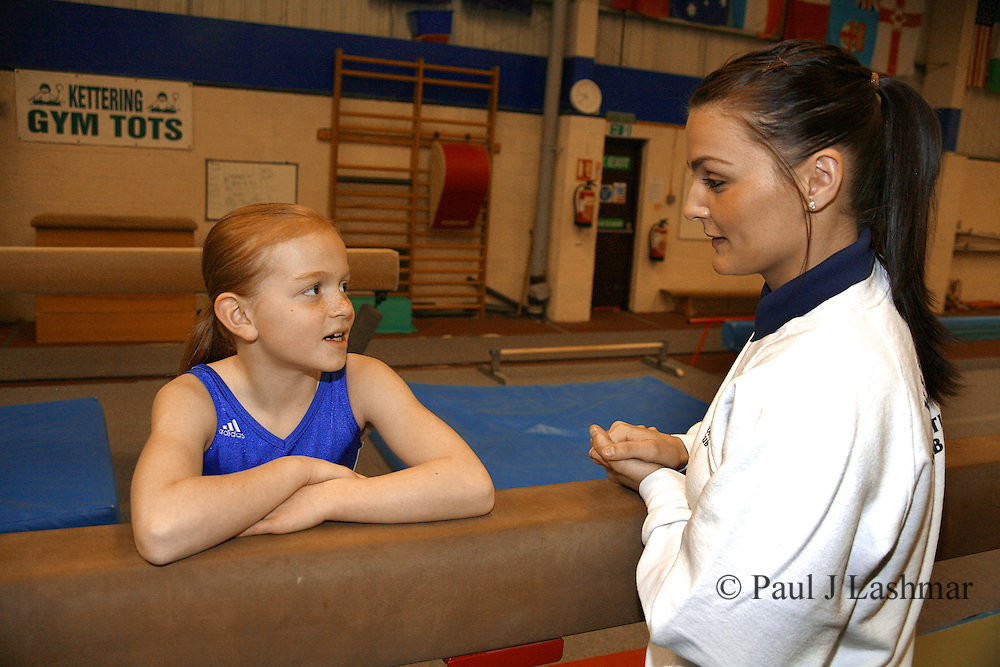 Kettering Olympic Gymnastic member, Zoe Parker, 8, who has won a chance to train with Daniel Keating, with her coach, Lauren Hunter