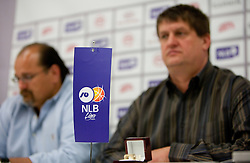 Aleksandaer Dzikic and Roman Lisac during press conference of NLB Basketball League one day before NLB Final Four Tournament 2011, on April 18, 2011 in Arena Stozice, Ljubljana, Slovenia.  (Photo By Vid Ponikvar / Sportida.com)