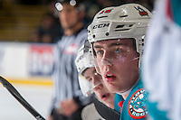 KELOWNA, CANADA - FEBRUARY 18: Kole Lind #16 of the Kelowna Rockets sits on the bench against the Prince George Cougars on February 18, 2017 at Prospera Place in Kelowna, British Columbia, Canada.  (Photo by Marissa Baecker/Shoot the Breeze)  *** Local Caption ***