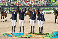 Team Germany, Silver medal, Auffarth Sandra, Jung Michael, Klimke Ingrid, Krajewski Julia, GER<br /> Olympic Games Rio 2016<br /> © Hippo Foto - Dirk Caremans<br /> 09/08/16