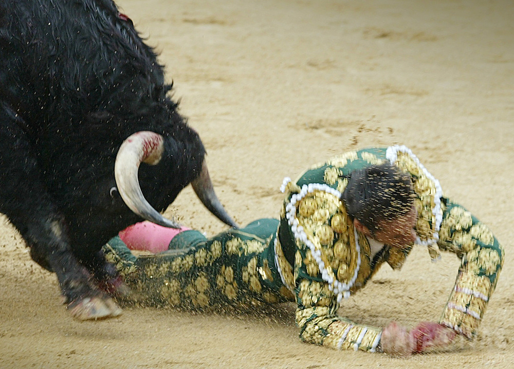 """Jose Pacheco """"El Califa"""" is gored by his first Dolores Aguirre bull, 10 July 2004, during the 4rd """"corrida"""" of the San Fermin fair, celebrated in the northern Spanish city of Pamplona. PHOTO RAFA RIVAS"""