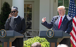 United States President Donald J. Trump and President Muhammadu Buhari of Nigeria depart the Oval Office to conduct a joint press conference with in the Rose Garden of the White House in Washington, DC on Monday, April 30, 2018. Credit: Ron Sachs / CNP. 30 Apr 2018 Pictured: United States President Donald J. Trump conducts a joint press conference with President Muhammadu Buhari of Nigeria in the Rose Garden of the White House in Washington, DC on Monday, April 30, 2018. Credit: Ron Sachs / CNP. Photo credit: Ron Sachs - CNP / MEGA TheMegaAgency.com +1 888 505 6342