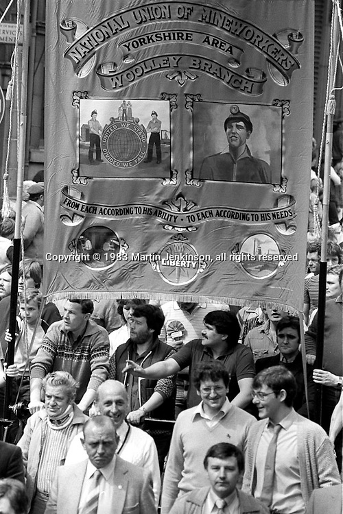 Woolley banner, 1983 Yorkshire Miner's Gala. Barnsley