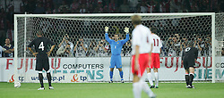 WARSAW, POLAND - WEDNESDAY, SEPTEMBER 7th, 2005: Wales' goalkeeper Danny Coyne prepares to face a Poland penalty during the World Cup Group Six Qualifying match at the Legia Stadium. (Pic by David Rawcliffe/Propaganda)