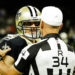 Aug 26, 2017; New Orleans, LA, USA; New Orleans Saints quarterback Drew Brees (9) talks with referee Clete Blakeman (34) before a preseason game against the Houston Texans at Mercedes-Benz Superdome. Mandatory Credit: Derick E. Hingle-USA TODAY Sports