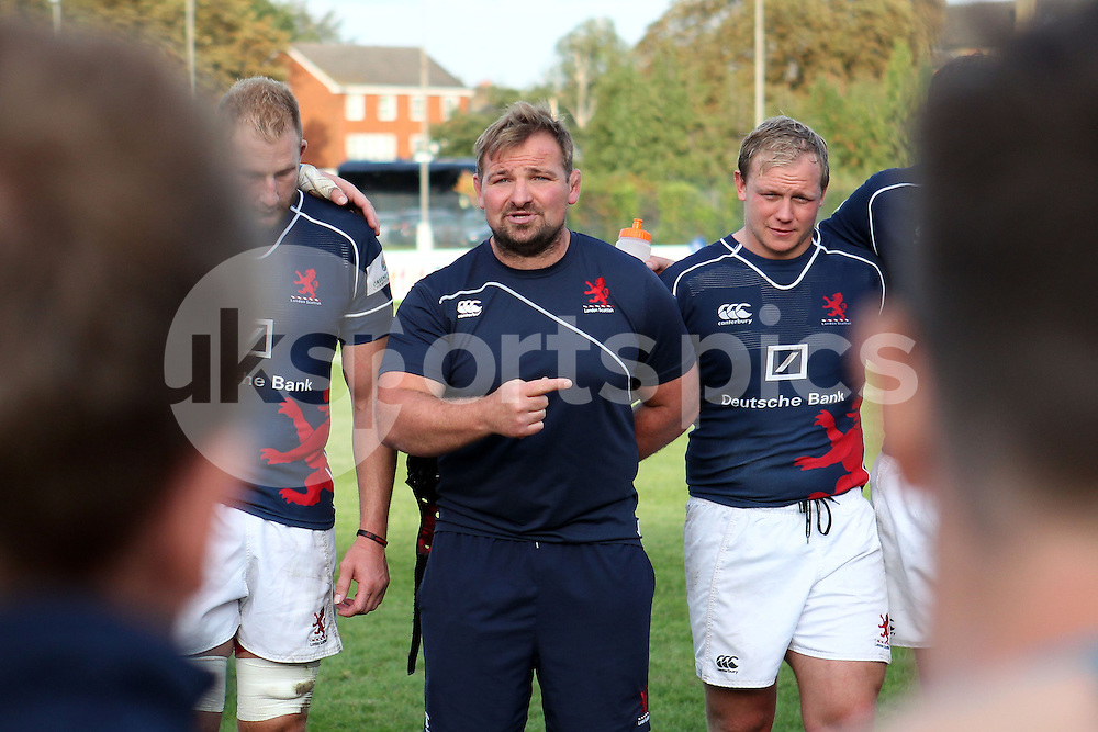 Head Coach James Buckland talks to his team following the Green King IPA Championship match between London Scottish &amp; Plymouth Albion at Richmond, Greater London on Sunday 5th October 2014<br /> <br /> Photo: Ken Sparks | UK Sports Pics Ltd<br /> London Scottish v Plymouth Albion, Green King IPA Championship,5th October 2014<br /> <br /> &copy; UK Sports Pics Ltd. FA Accredited. Football League Licence No:  FL14/15/P5700.Football Conference Licence No: PCONF 051/14 Tel +44(0)7968 045353. email ken@uksportspics.co.uk, 7 Leslie Park Road, East Croydon, Surrey CR0 6TN. Credit UK Sports Pics Ltd