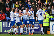 Tranmere Rovers Oliver Banks(28) scores a goal 1-0 and celebrates during the EFL Sky Bet League 2 play off first leg match between Tranmere Rovers and Forest Green Rovers at Prenton Park, Birkenhead, England on 10 May 2019.
