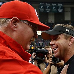 Aug 9, 2013; New Orleans, LA, USA; New Orleans Saints head coach Sean Payton greets Kansas City Chiefs head coach Andy Reid at midfield following a win against the Kansas City Chiefs in a preseason game at the Mercedes-Benz Superdome. Mandatory Credit: Derick E. Hingle-USA TODAY Sports