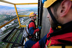 TURKEY SOMA 27APR16 - Greenpeace activists climb a 280-metre tall chimney of the Soma coal-fired power station and rig a large banner. The banner reads 'Grey and Dirty' in the Turkish language.<br /> <br /> jre/Photo by Jiri Rezac / Greenpeace<br /> <br /> © Jiri Rezac 2016