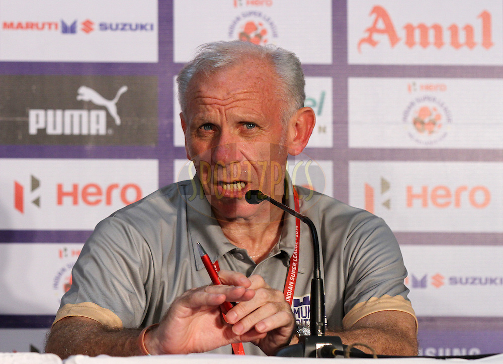 Mumbai City FC coach Peter Reid during the press conference of  match 15 of the Hero Indian Super League between Chennaiyin FC and Mumbai City FC held at the Jawaharlal Nehru Stadium, Chennai, India on the 28th October 2014.<br /> <br /> Photo by:  Vipin Pawar/ ISL/ SPORTZPICS