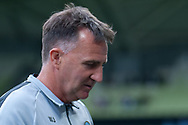 Melbourne City head coach Warren Joyce looks on during warm up at the Hyundai A-League Round 6 soccer match between Melbourne City FC and Newcastle Jets at AAMI Park in Melbourne.