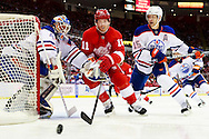 March 7, 2013; Detroit, MI, USA;Detroit Red Wings right wing Daniel Cleary (11) and Edmonton Oilers defenseman Nick Schultz (15) go for the puck  in front of goalie Devan Dubnyk (40) in the first period  at Joe Louis Arena. Mandatory Credit: Rick Osentoski-USA TODAY Sports