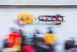 21.02.2016, Olympiaeisbahn Igls, Innsbruck, AUT, FIBT WM, Bob und Skeleton, Herren, Viererbob, 3. Lauf, im Bild Pius Meyerhans, Marcel Dobler, Nikolai Ekimov, Marius Broening (SUI) // Pius Meyerhans Marcel Dobler Nikolai Ekimov Marius Broening of Switzerland compete during Four-Man Bobsleigh 3rd run of FIBT Bobsleigh and Skeleton World Championships at the Olympiaeisbahn Igls in Innsbruck, Austria on 2016/02/21. EXPA Pictures © 2016, PhotoCredit: EXPA/ Johann Groder