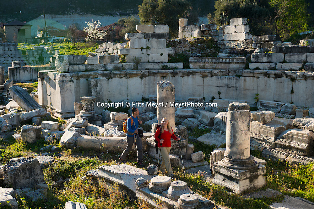 Mugla, Turkey, March 2014. The ancient city of Stratonikeia is bulit on the ruins of the Carian settlement Idras and during recent excavation, layers of Roman and Hellenistic life were uncovered under Byzantine and more recent Ottoman buildings. Carian Trail section from Belen Kahvesi to Stratonikeia.The Carian Trail runs through pine scented forests along the coastal mountains of Western Turkey and is littered with ancient ruins, secluded coves with turquoise waters and little villages. more than 800km of ancient roads, shepherd paths and forest trails form Turkey's longest hiking trail.  Photo by Frits Meyst / MeystPhoto.com