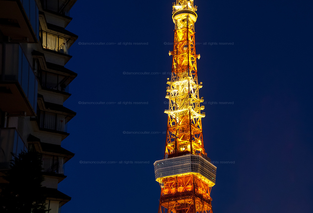 Tokyo Tower illuminated at night, Tokyo, Japan. Friday November 14th 2014