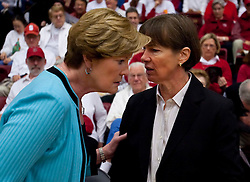 December 19, 2009; Stanford, CA, USA;  Tennessee Lady Volunteers head coach Pat Summitt meets with Stanford Cardinal head coach Tara VanDerveer before the game at Maples Pavilion.  Stanford defeated Tennessee 67-52.