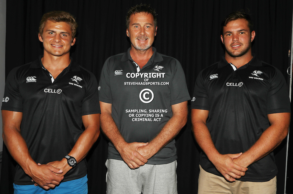 DURBAN, SOUTH AFRICA - FEBRUARY 16: Patrick Lambie with Robert du Preez (Head Coach) of the Cell C Sharks and Franco Marais during the Cell C Sharks press conference at Growthpoint Kings Park on February 16, 2017 in Durban, South Africa. (Photo by Steve Haag/Gallo Images)