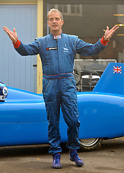 ©London News pictures...16/11/2010. Don Wales stands in front of the car that he intends to use to break the record. Launch of an attempt by Don Wales today (Tuesday), holder of the UK Land Speed Record for an electric car, to break his own record and exceed the outright record set by his grandfather, Sir Malcolm Campbell, in 1925. Wales hopes to take the record well beyond 150mph - the speed Sir Malcolm clocked in 1925. Brooklands Museum, Brooklands Road, Weybridge, Surrey. Picture caption should read Stephen Simpson/London News Pictures.