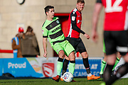 Forest Green Rovers midfielder Lloyd James (4) in action  during the EFL Sky Bet League 2 match between Morecambe and Forest Green Rovers at the Globe Arena, Morecambe, England on 9 March 2019.