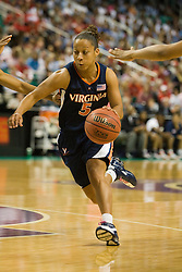 Virginia guard Sharnee Zoll (5) in action against UNC.  The #4 seed/#25 ranked Virginia Cavaliers women's basketball team fell to the #1 seed/#2 ranked North Carolina Tar Heels 80-65 in the semifinals of the 2008 ACC Women's Basketball Tournament at the Greensboro Coliseum in Greensboro, NC on March 8, 2008.