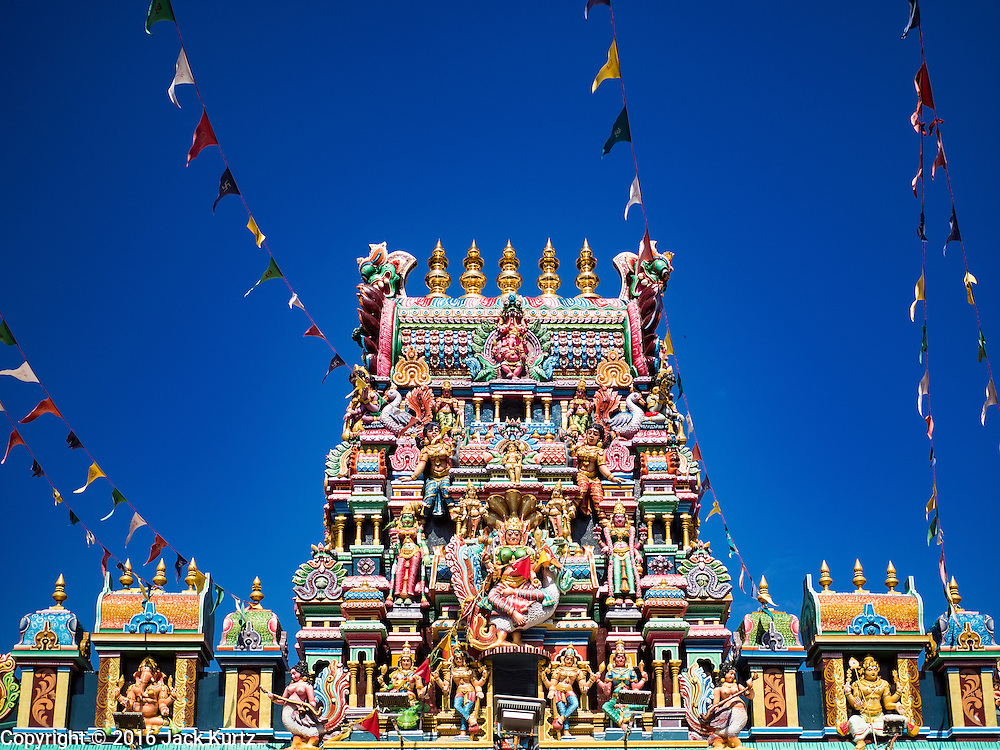 17 NOVEMBER 2016 - GEORGE TOWN, PENANG, MALAYSIA:  The entrance to the Sri Mahamariamman Hindu Temple in George Town, Penang, Malaysia. George Town is a UNESCO World Heritage city and wrestles with maintaining its traditional lifestyle and mass tourism.       PHOTO BY JACK KURTZ