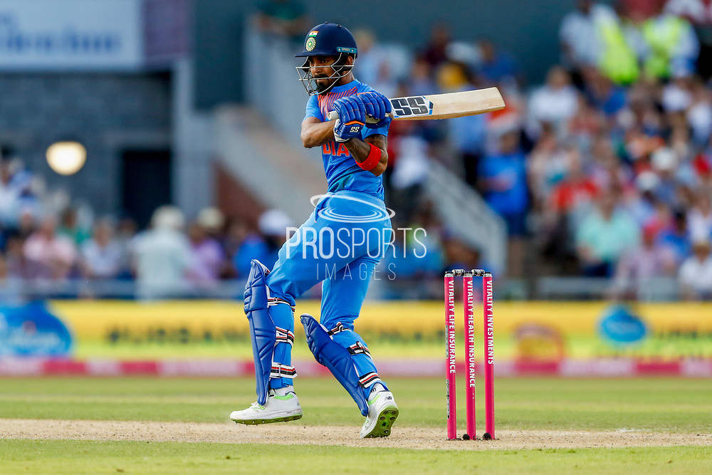 India T20 all rounder KL Lokesh Rahul with a boundary  during the International T20 match between England and India at Old Trafford, Manchester, England on 3 July 2018. Picture by Simon Davies.