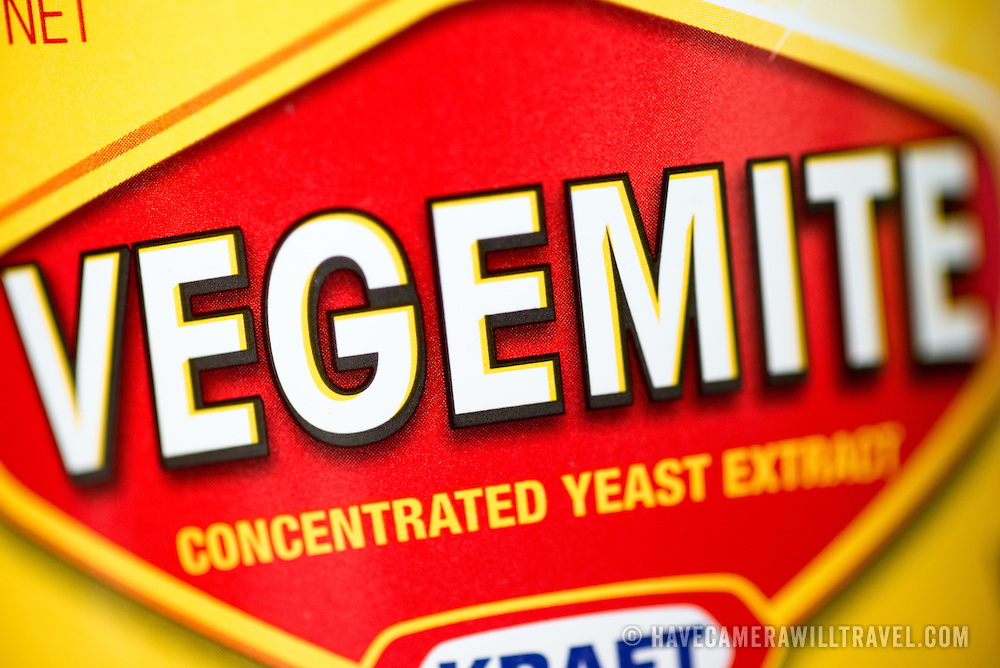 Close-up of the label on a jar of Vegemite, a famous Australian spread made from concentrated yeast extract. Vegemite is now owned by the American food company Kraft.