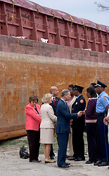 04 November, 2005. New Orleans, Louisiana. Post Katrina.<br />  L/R. Govenor Blanco and Mayor Ray Nagin with Charles and Camilla as they visit the lower 9th ward in New Orleans, devastated by hurricane Katrina when a barge broke through the levee flooding the area. <br /> Photo; Charlie Varley/varleypix.com