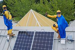 Solar panel installation, KidsQuest Children's Museum, Bellevue, Washington, United States