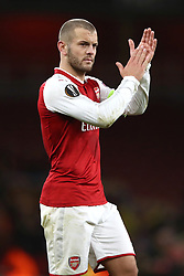 Arsenal's Jack Wilshere applauds supporters after the final whistle